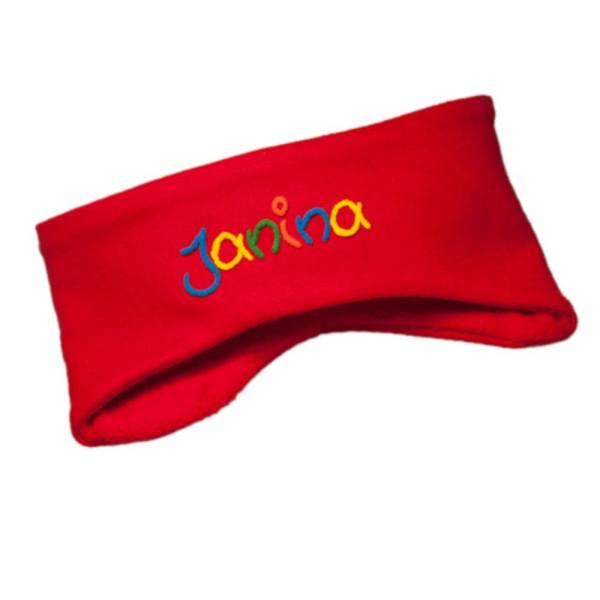 Fleece Stirnband mit Namen verschiedene Farben