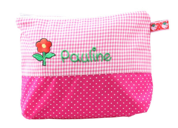 Pinke Waschtasche für Mädchen mit Namen Blume