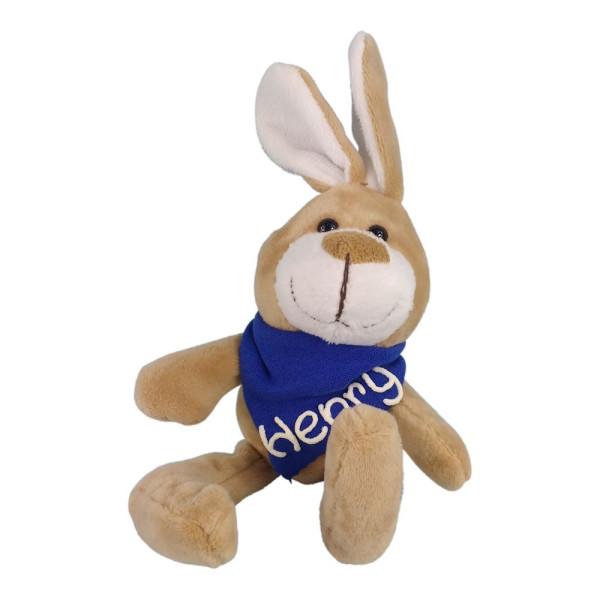 Kuscheltier Hase mit Wunschbeschriftung am Halstuch blau