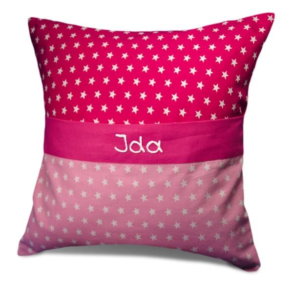 Kissen Sterne pink mit namen