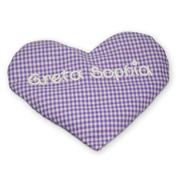 Herzkissen mit Namen lila