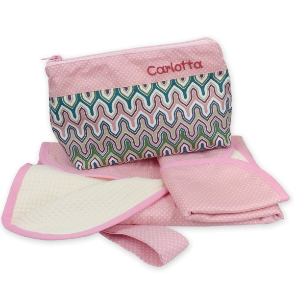 Wickelset Wickeltasche und Wickelunterlage rosa mit Name