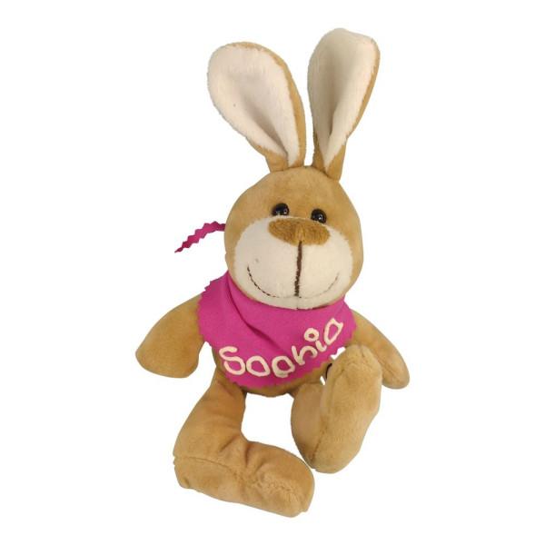 Kuscheltier Hase mit Wunschbeschriftung am Halstuch pink