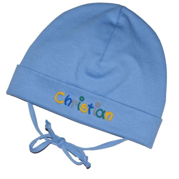 Babymütze mit Namen hellblau Junge