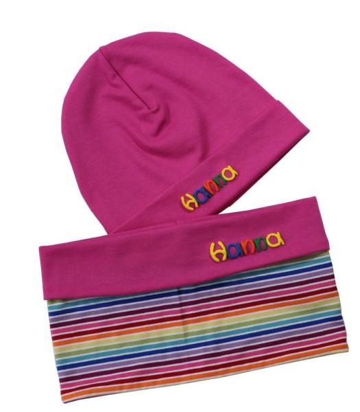 Mädchenmütze pink und Mädchenschal mit Namen