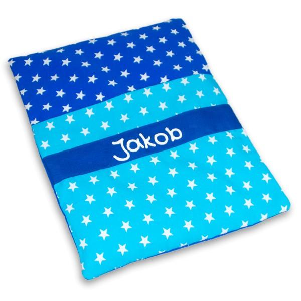 Körnerkissen Sterne mit Namen blau