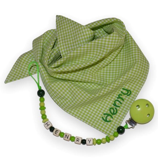 Geschenkset zum Geburtstag bestehend aus Karotuch und Schnullerkette grün