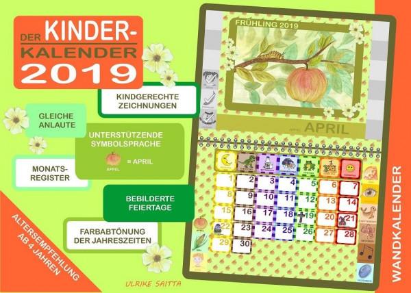 Kinderkalender Jahreskalender Kinderplaner Monatsregister Feiertage 2019