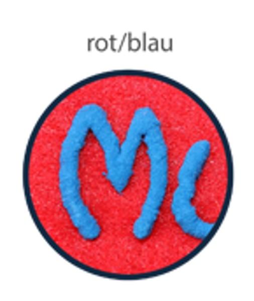 Schluesselanhaenger aus Filz mit Namen rot