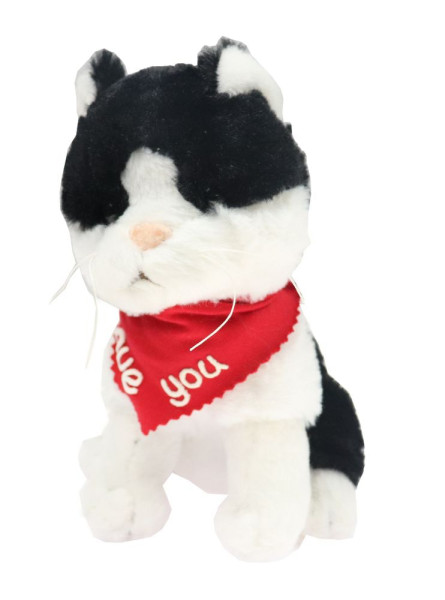 Katze schwarz 18cm mit Namen am Halstuch
