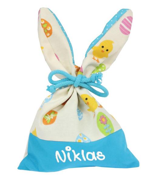 Osternest mit Hasenohren und Namen - Geschenkbeutel