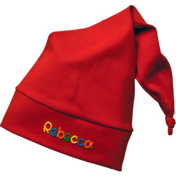 Kindermütze mit Zipfel und Name rot