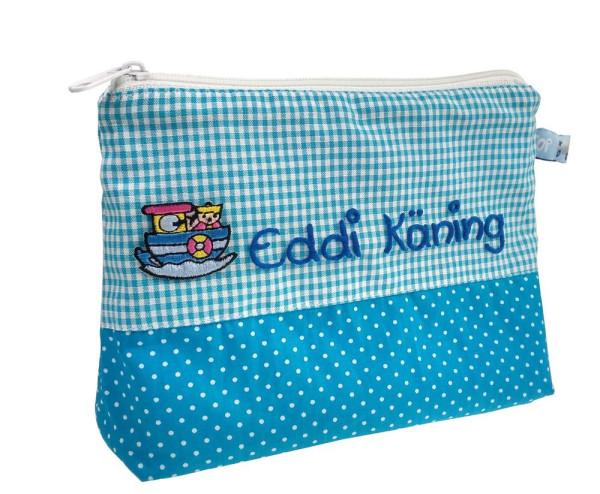 Blaue Waschtasche für Jungen mit Namen Schiff