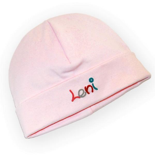 Mütze mit Namen rosa