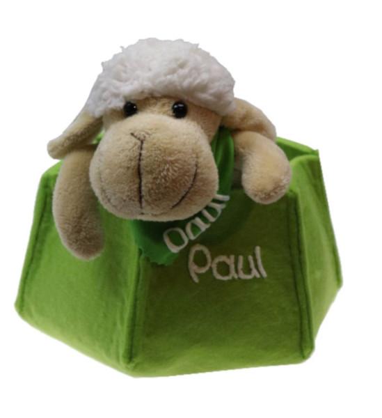 Schaf mit Name am Halstuch im Osternest aus Filz
