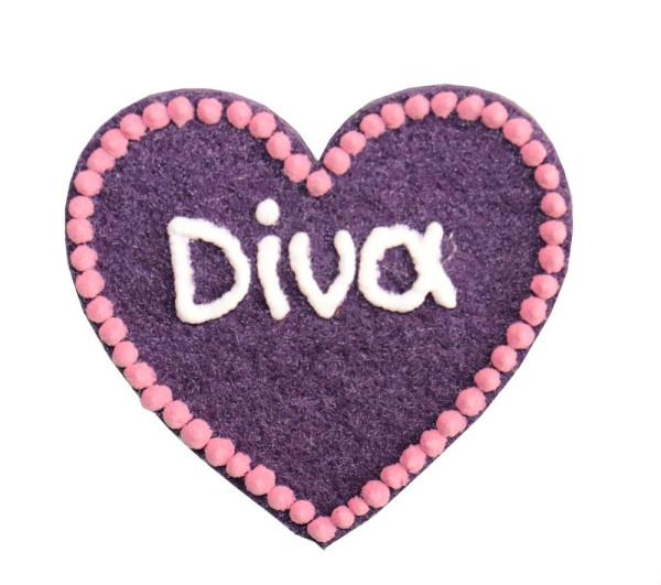 Kühlschrankmagnet Herz Diva - Magnet Diva aus Filz