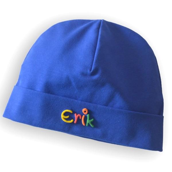Mütze mit Namen kobalt