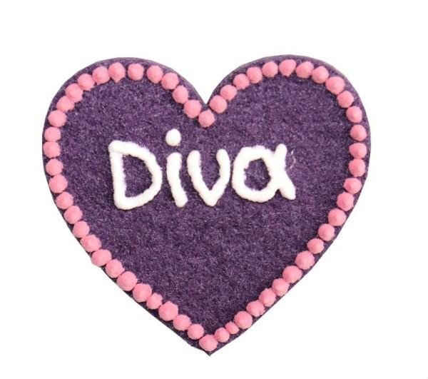 Kühlschrankmagnet Diva - Filzherz lila