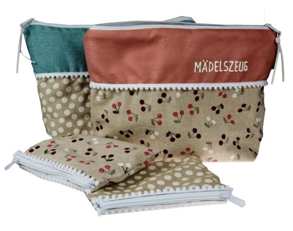 Kulturtasche Beauty Bag mit kleinem Schminktäschchen mit Spruch oder Name - Kulturtaschenset