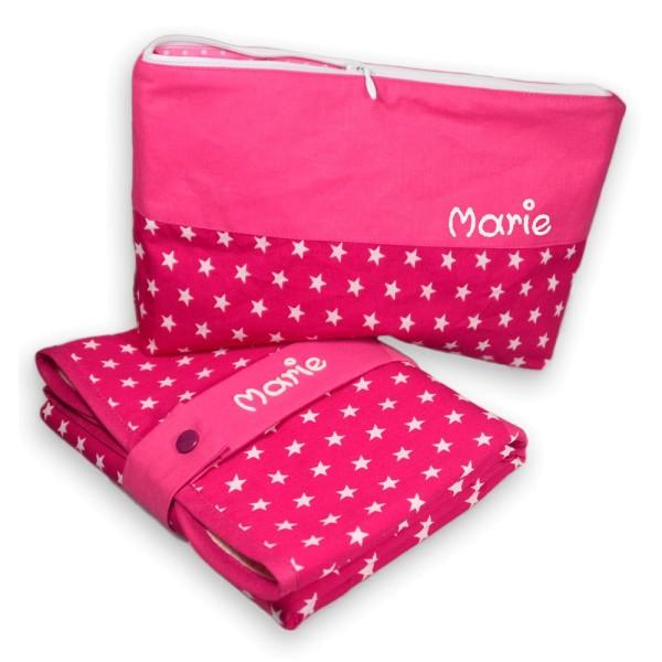 Wickeltasche mit Unterlage pink mit Wunschbeschriftung