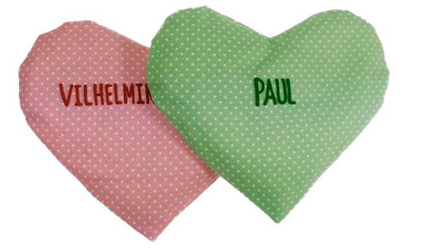 Rapskissen mit Wunschbeschriftung rosa grün