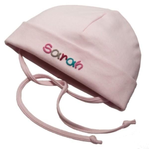 Mütze Baby für Mädchen rosa mit Namen