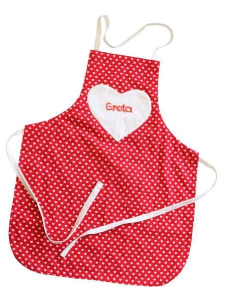 Kinderschürze mit Herz mit Name - Kochschürze für Mädchen